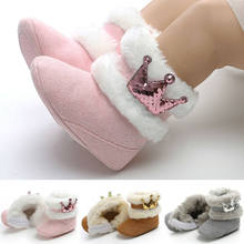 Winter Warm Newborn Baby Girls Snow Boots Princess Sequin Crown Cashmere Plush Crib Shoes Toddler Infant Kids Soft Furry Boots