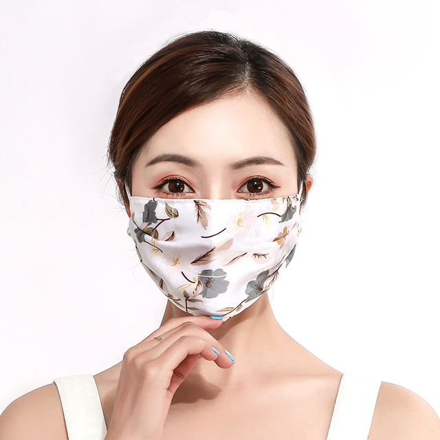 2pcs Fashion Printing Chiffon Mouth Mask Reusable PM2.5 Protective Face Cover Dust Face Mask Bacteria Proof Flu Mouth Muffle 3