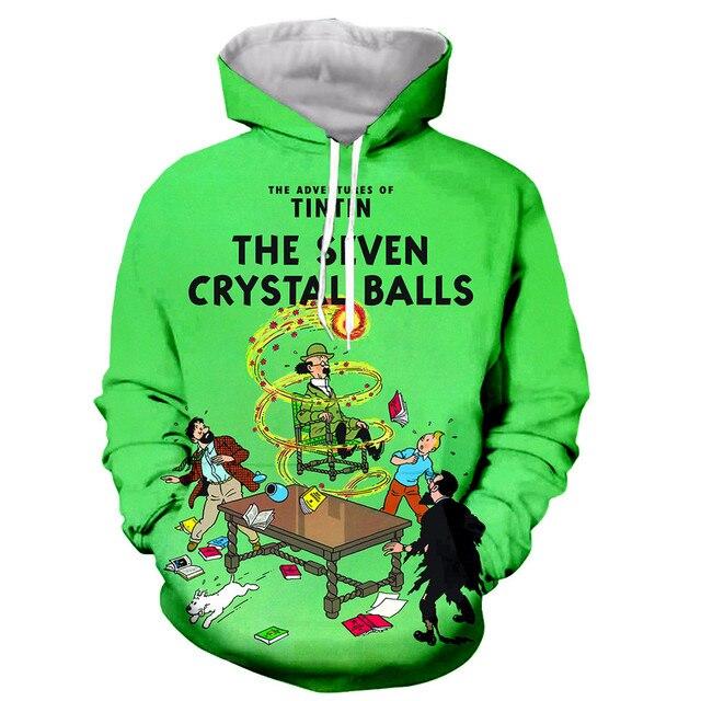 New arrive The Adventures of Tintin 3D print men women fashion cool sweatshirt hoodies streetwear casual dropshipping 4