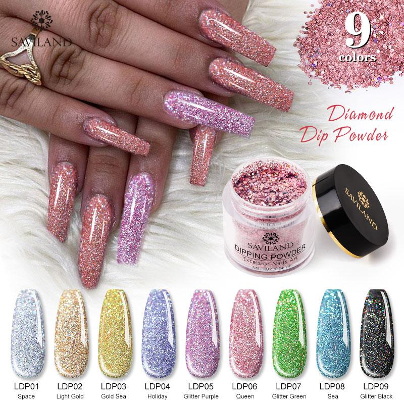 SAVILAND Diamond Dip Powder Neon Phosphor French Nail Art Natural Dry Color Holographic Glitter Nail Art Decoration No Need Lamp