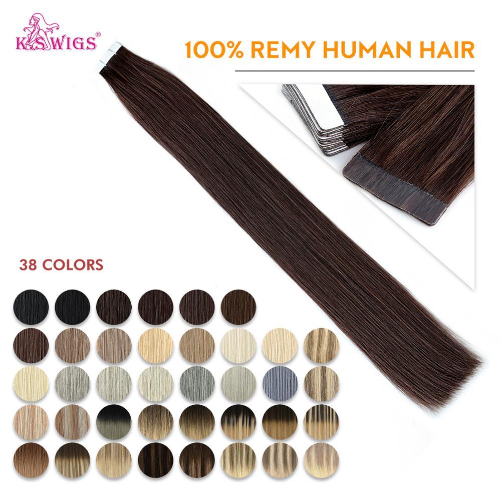 K.S парики 16 ''20'' 24 ''прямые двойные натянутые клейкие ленты для наращивания волос Бесшовные Невидимые толстые Человеческие волосы Remy для сало...