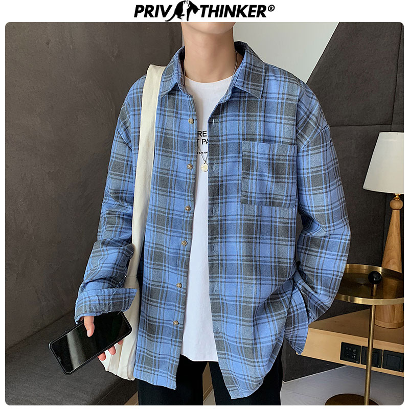 Privathinker Men New Autumn Hip Hop Loose Shirts Mens 2019 Harajuku Long Sleeve Tops Male Turn-down Collar Shirt Clothing Autumn