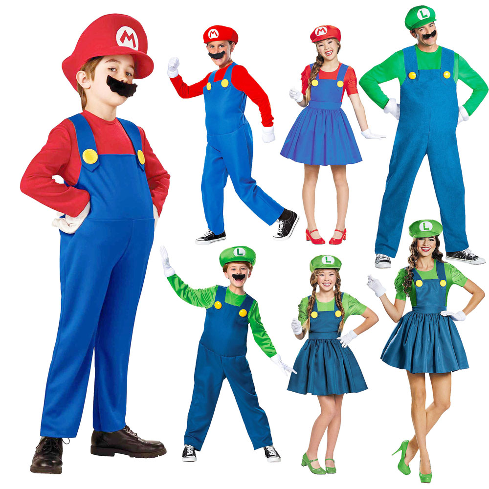 Mario Costume Halloween Kids Cosplay Costume Jumpsuit Super Brothers Cosplay Capes for Boys Girls Party Gifts for Kids