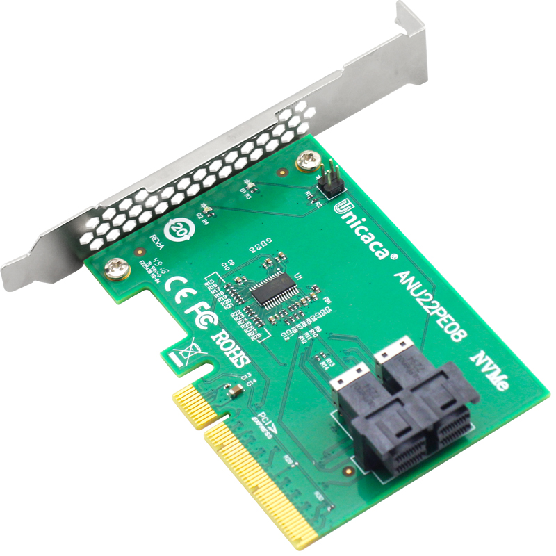 Image 5 - UNICACA ANU22PE08 SFF8643*2 PCIe3.0 X8 12Gb/s U.2 exp rise adapter (support nvme device ) with cable*1-in Add On Cards from Computer & Office