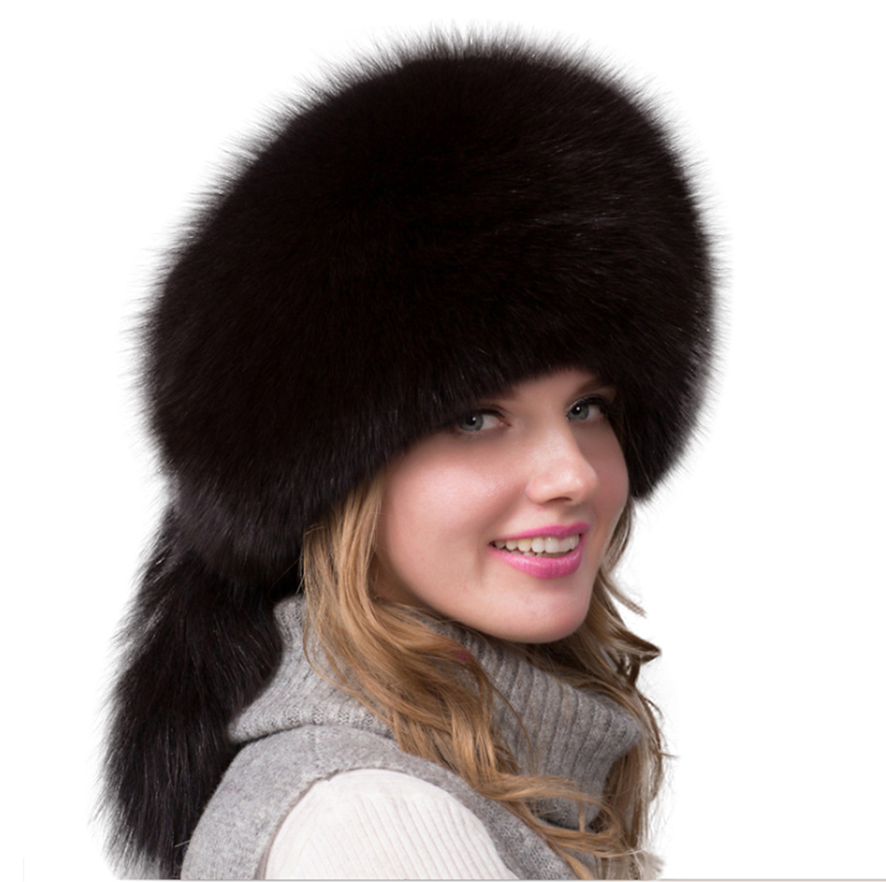Leather Hat Real Fox Fur Cover Handmade Luxury Winter Warm Russian Military Caps Fluffy Ushanka Hats For Women