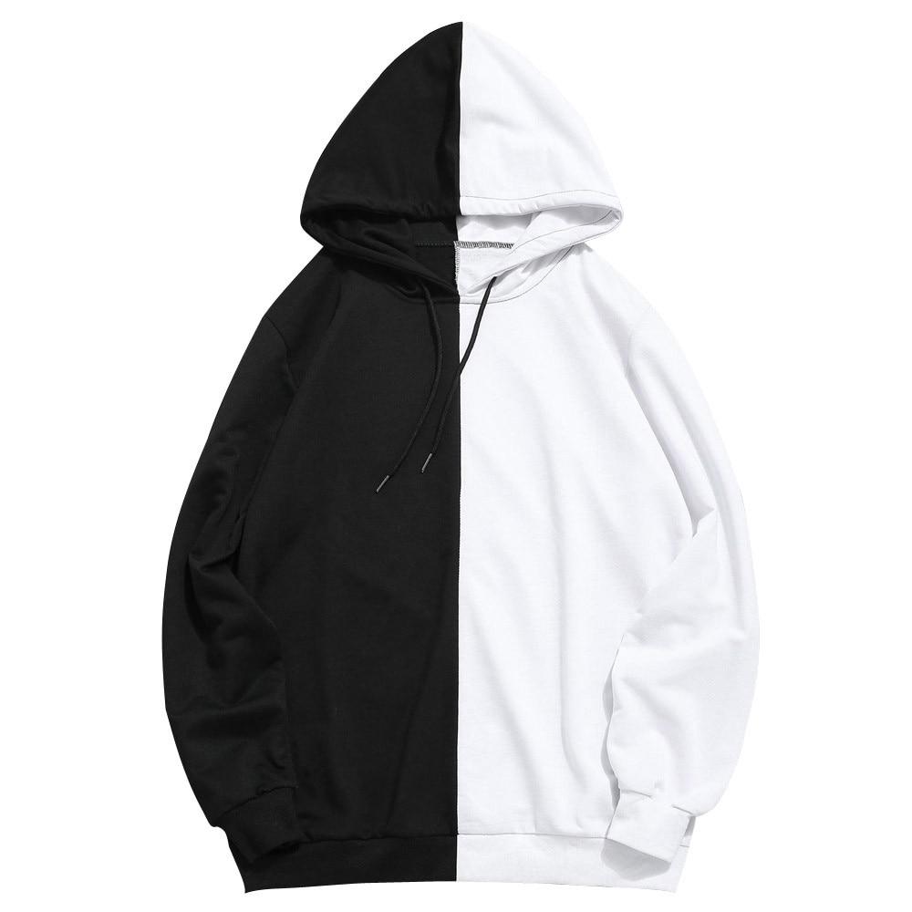 Men Sweatshirt Black White Patchwork Casual Slim Fit Hoodie Outwear Korean Style 2020 Autumn Winter Outdoor Hooded Sweatshirt