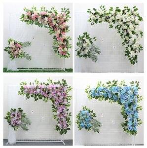 Image 2 - 1 סט 120cm 3D אירופאי סגנון DIY חתונה שלב דקור מלאכותי פרח קיר קשת משי עלה אדמונית צמחים עיצוב תפאורה פרח קיר