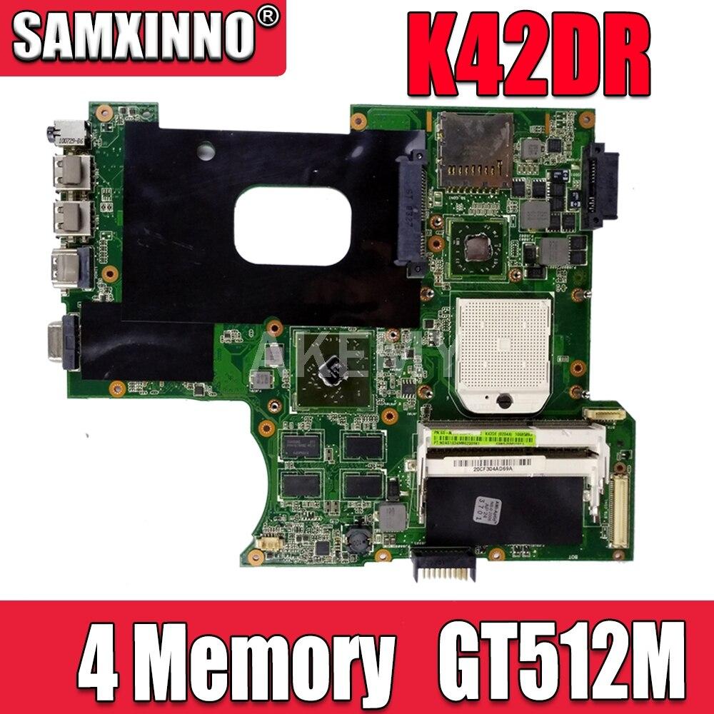 Материнская плата для ноутбука Asus K42DR K42D K42DE K42DY A42D X42D 4 Memory 512M системная плата Материнская плата