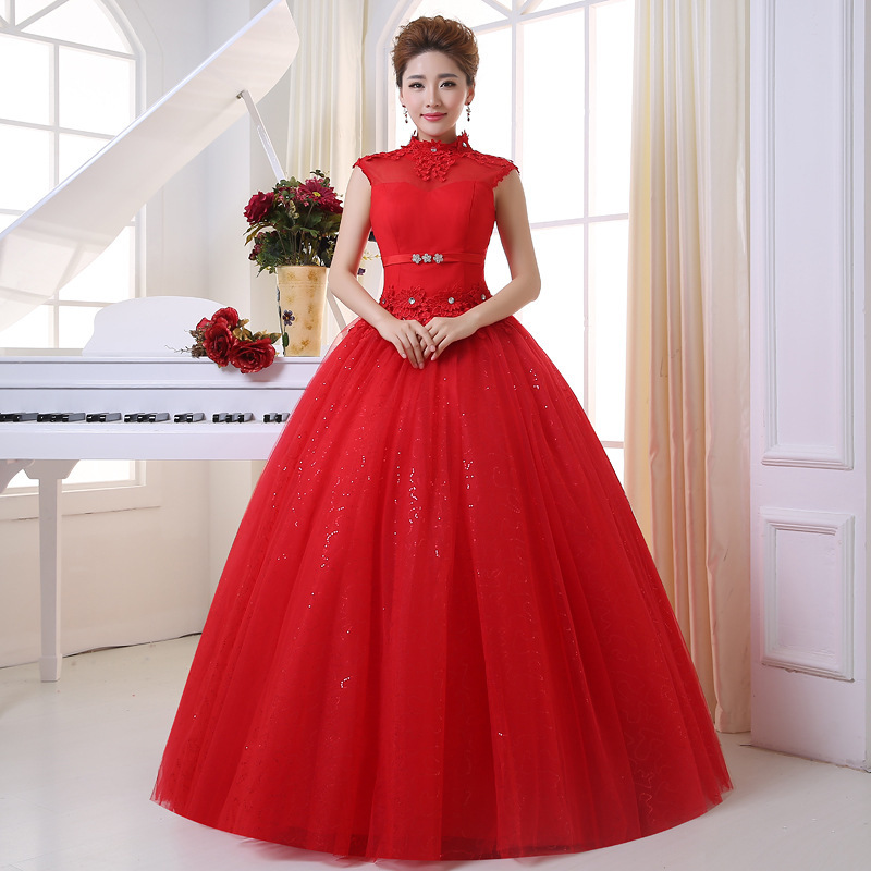 Han Time-limited Scalloped Half Watteau Train Edition Retro Bag Shoulder Lace Wedding Dresses The New 2020 To Bind Bride Dress