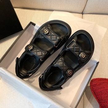 Women's faux Leather Sandals Female 2020 Summer Fashion Sports Joker Flats for Ins Rome Platform - discount item  47% OFF Women's Shoes