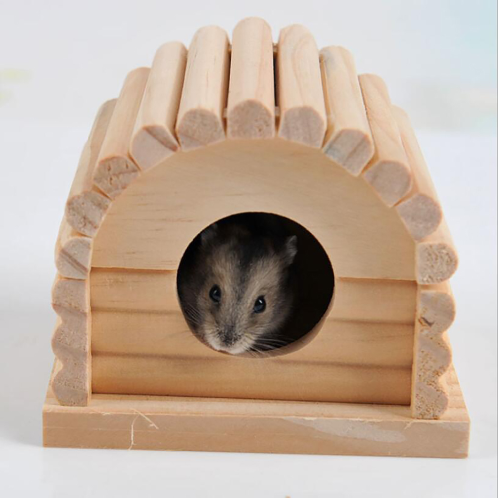 High Quality Pet House Comfortable Wooden Pet Products Pet Hedgehog Castle Toy Hamster Nest Hamster House Wooden Arched House