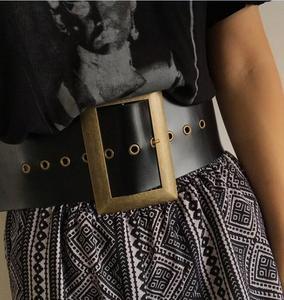 Image 2 - 高品質本革女性ベルト幅パンクファッションビッグスクエアバックル黒のウエストのドレス装飾ベルトcinturon mujer