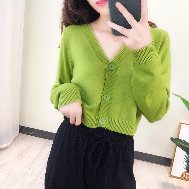 2019 Spring Knitted White Black Cardigan Women Button Up V Neck  Button Cute Kwaii Crop Sweater Knitting Top Streetwear 4