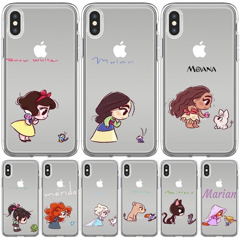 Mini Princesses Cute Mermaid Mulan Snowwhite Silicone Coque Soft Phone Case Cover For Iphone 11 Pro Max X Xs Xr 5 6 7 8 Plus