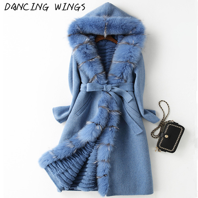 Real Fox Fur Coat Detached Lining Natural Rex Rabbit Fur Parka 100% Double Side Wool Cashmere Coat Casaco Feminino image