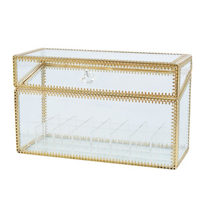 Image 5 - 24 Grids Gouden Rand Glas Lipstick Opslag Houders Koper Lipstick Make Up Cosmetische Organizer Glas Opbergdoos Met Deksel