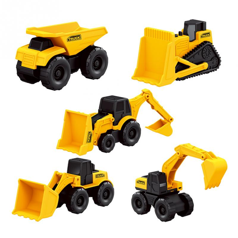 5PCS/Set Kids Children Toys Mini Machine Set Engineering Truck Toy Bulldozer Tractor Set Construction Vehicle Dump XMAS Gifts