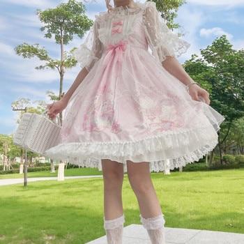 Japanese sweet lolita dress vintage lace bowknot cute printing victorian dress kawaii girl gothic lolita jsk princess loli cos 1