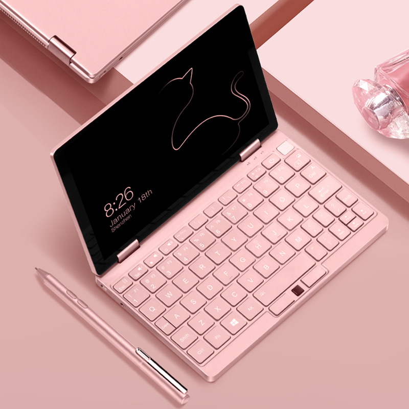 Pink Cat Laptop Notebook 8.4 inch Pocket Computer OneMix3s Netbook i3-10110Y 8G RAM 256GB SSD IPS Touch Screen Windows 10