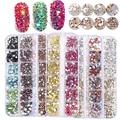 Chnrmjl1440 шт./коробка Золотые кристаллы AB Стразы для ногтевого дизайна камни смешанного размера класса шипы 3D аксессуары для украшения ногтей ...