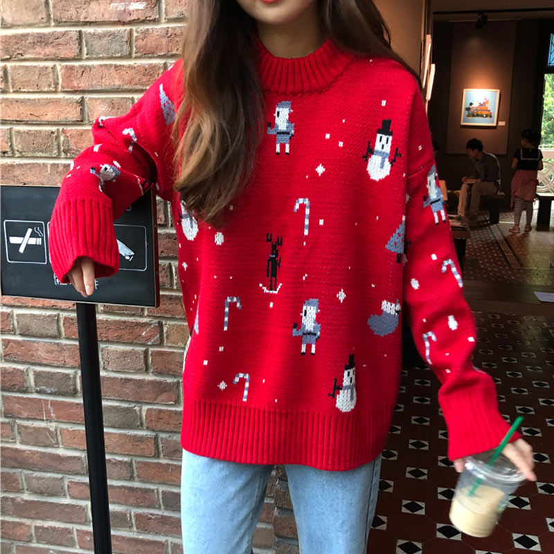 Women's Knitted Chrismas Snowman Thick Sweater Autumn Winter O Neck Long Sleeve Female Pullover Loose Reindeer Ladies Jumpers