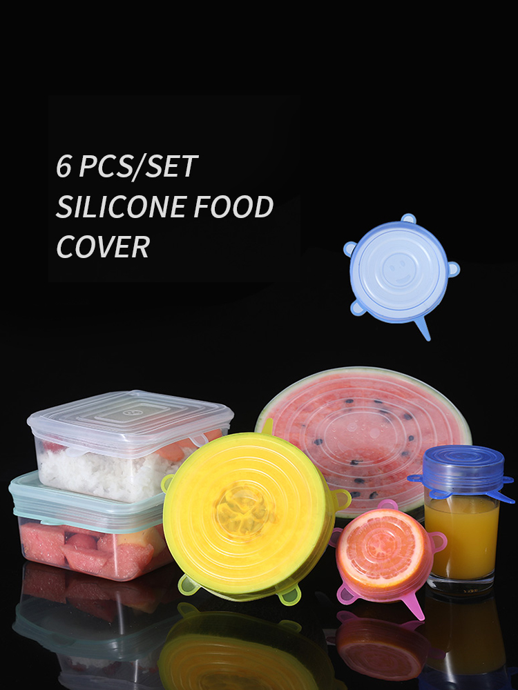 VandHome 6 Pcs/ Set Universal Food Silicone Cover Reusable Silicone Cap Stretch Lids For Food Cookware Bowl Kitchen Accessories