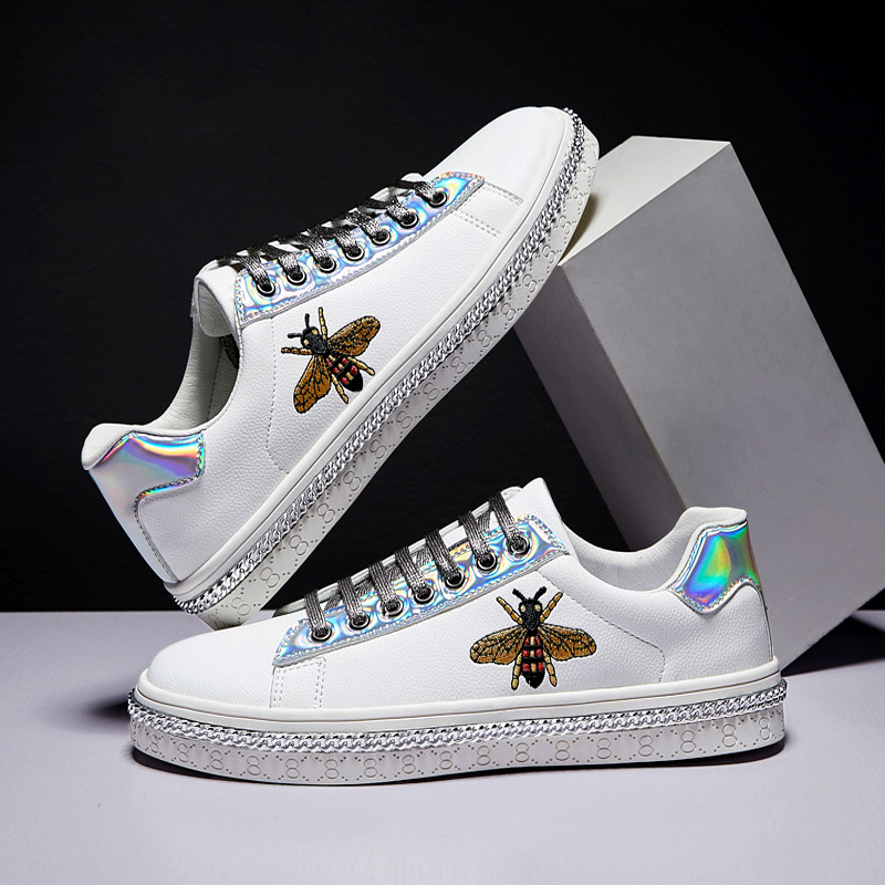 Spring Fashion White Silver Women Board Sneakers Classic Bee Embroidery Shoes Outdoor Hip Hop Sports Women Giltter Sneakers Shoe