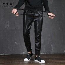 2021 Autumn Mens Pu Leather Pants Harajuku Slim Fit Lace Up Elastic Casual Sweatpants Fashion Biker Trousers Men Pencil Pants