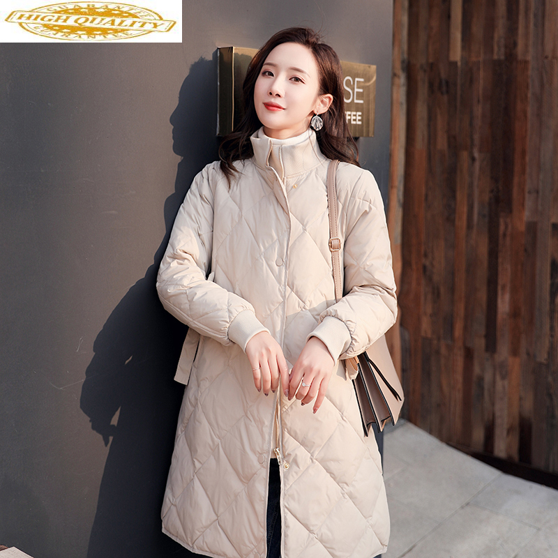2020 Women's Down Jacket Korean Winter Coat White Duck Down Jacket Women Long Ultra Light Down Jackets And Coats 0006 KJ2799