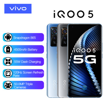 Vivo iQOO 5 12GB 128GB Snapdragon 865 5G Smartphone 4500mAh 55W 120Hz Refresh Rate 50.0MP Triple Cameras Telephone Electronics Mobile Phones