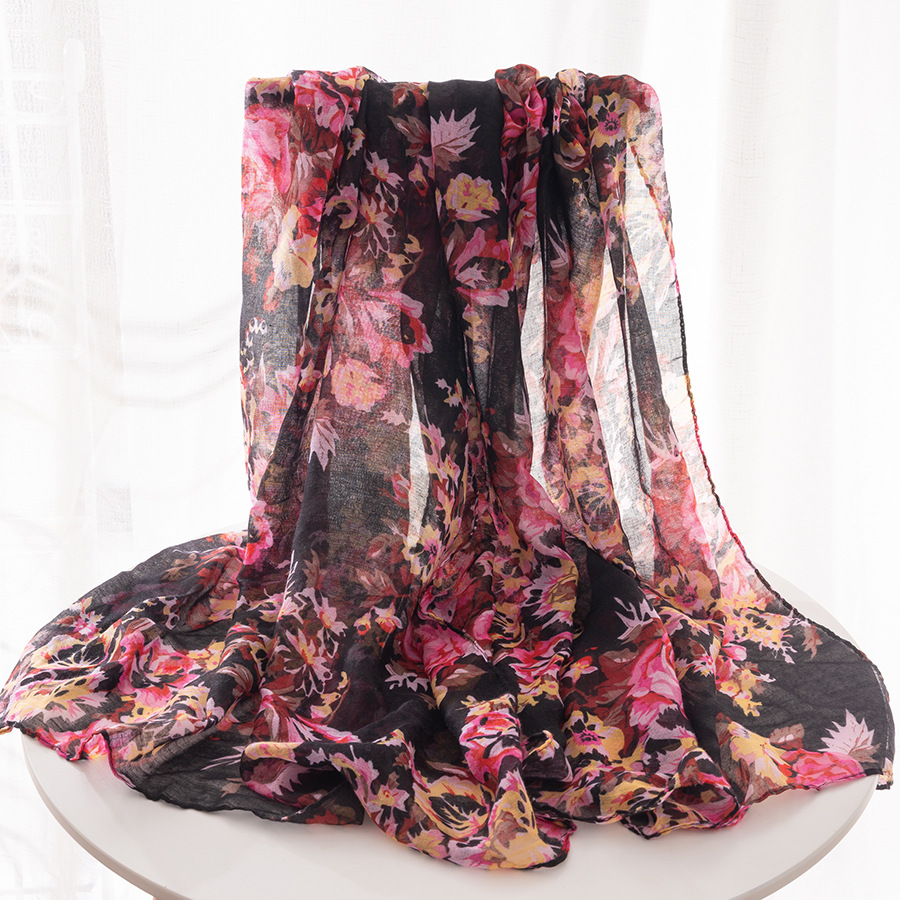 2018 Autumn And Winter Scarf Bali Yarn Scarf Flower Printed Pattern Scarf Sun-resistant Beach Towel