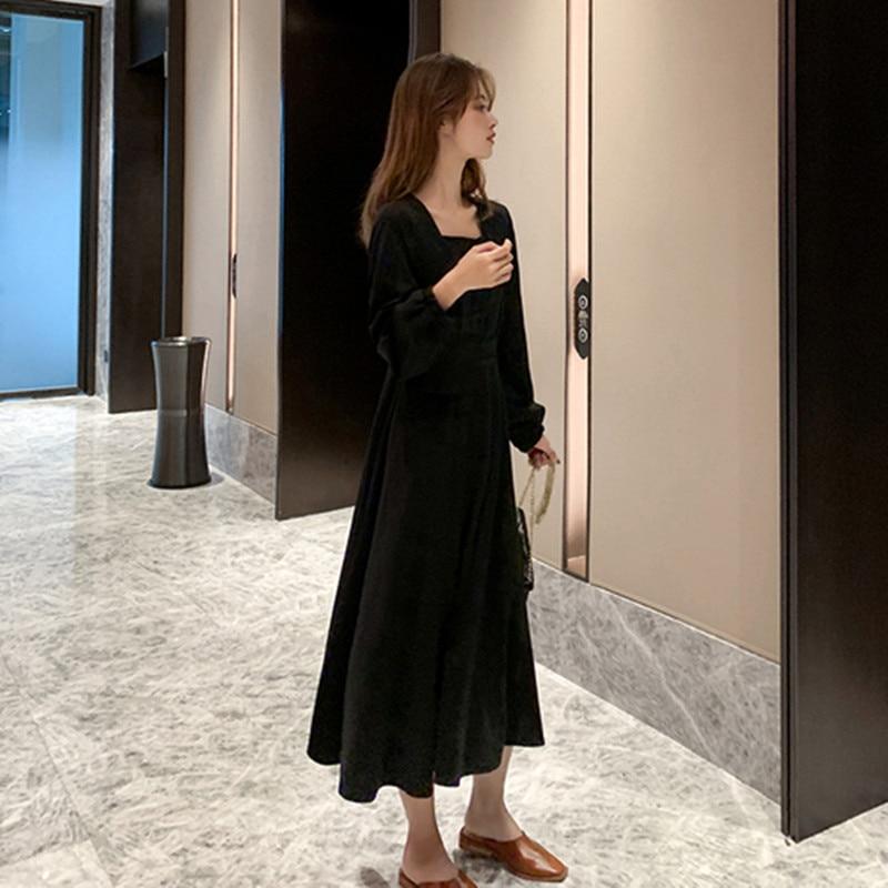Français restauration antique col carré couleur Pure robe 2020 printemps nouveau modèle femmes simple boutonnage manches longues robe de loisirs - 3