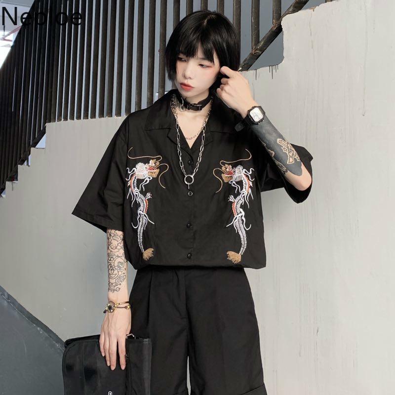 Neploe Harajuku Punk Gothic Black Blouse Tops 2020 Women Korean Embroidery Dragon Shirts Vintage Loose Casual Streetwear 39311(China)