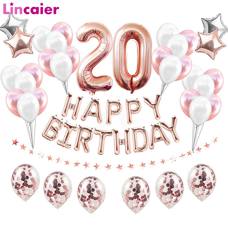 38pcs 32inch Happy 20 <font><b>Birthday</b></font> Foil Balloons Rose Gold Blue Pink Number <font><b>20th</b></font> Years Old Adlut Party <font><b>Decorations</b></font> Man Woman Supplie image