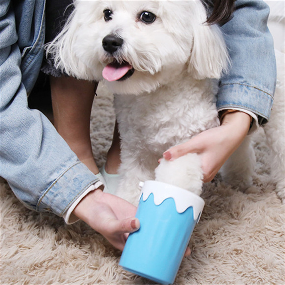 <font><b>Dog</b></font> <font><b>Paw</b></font> <font><b>Cleaner</b></font> Cup Portable Pet Foot Washer Cup Cute Ice Cream Design Silicone Brush 360-Degreed Foot Washing Cup Cleaning Tool image