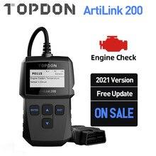 TOPDON AL200 OBD2 الماسح الضوئي سيارة OBDII أداة تشخيص السيارات رمز القارئ خطأ رمز قراءة المحرك تحقق الضباب الدخاني اختبار إيقاف IML