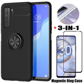 3-in-1, Phone Cases + Glass for Honor 30 S Huawei P30 Lite Magnetic Ring Silicone Cover P 30 Lite Huawei Honor30S Case Honor 30S