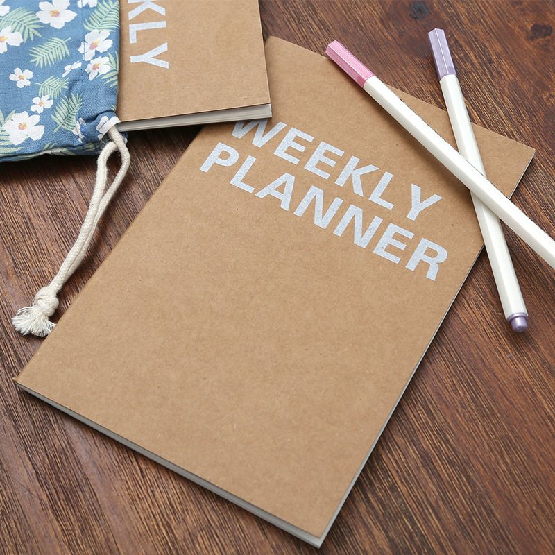 Notebook Weekly Planner A5 Kraft Paper 64 Pages Planner Time Manager Office&School To Do List Notebook Planner