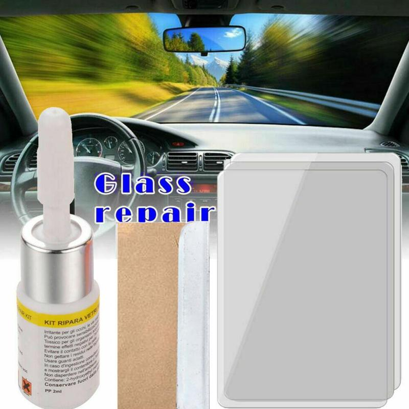 Car Windshield Repair Tool DIY Window Repair Tools Windscreen Glass Scratch Crack Restore Window Screen Resin+blade+strips