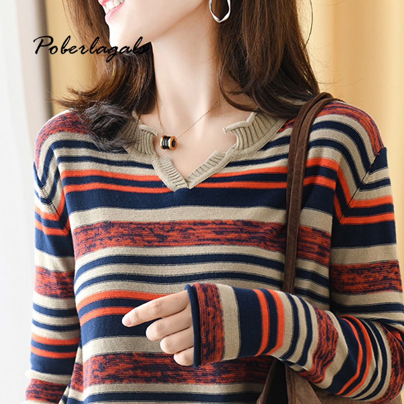 Pull Femme Loose Stripe Fashion Sweaters Women Pullovers Autumn Winter 2019 Korean Pullover Casual Knitted Ladies Sweater Womens Jumper