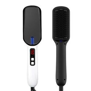Image 1 - Masseur de cheveux professionnel brosse Mini rapide ionique en céramique électrique lisseur brosse