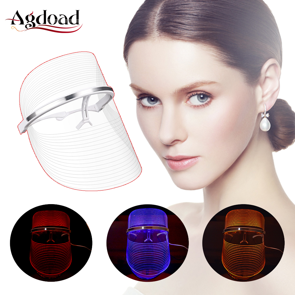 LED Light Therapy Face Mask Blue Yellow Red 3 Light Therapy Lamp Mask For Skin Whitening Wrinkles Remover Skin Care Tools