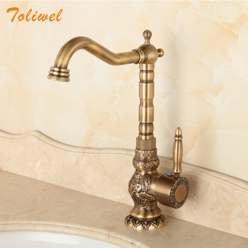 Antique Brass Bathroom Faucet Lavatory Vessel Sink Basin Kitchen Faucets Mixer Tap Swivel Spout Cold And Hot Water Chinese Style antique brass double handle bathroom faucet swivel spout kitchen mixer faucets hot and cold basin sink mixer tap kd1206