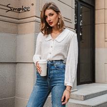 Simplee Elegante bianco autunno inverno camicetta delle donne Dell'annata del collare della bambola a maniche lunghe donna shirt Nuovo di tasca di modo camicetta 2020