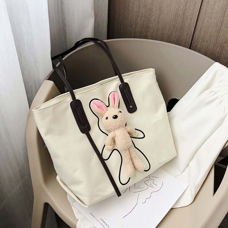 2020 Summer New Style Trend Online Celebrity Cartoon Cute bear bao Shoulder Cross-body Mass Toth Canvas Large Bag(China)