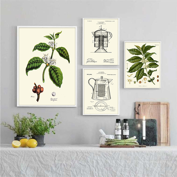 Coffee Poster Coffee Shop Kitchen Decoration Home Arabic Liberian Green Plant Pot Bar Canvas Wall Art Picture For Living Room image