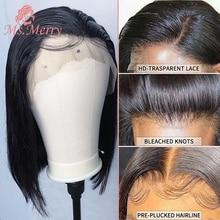 Short Bob Wigs 4X4 Lace Closure Wigs Straight Hair Natural Black Bob Wigs Pre Pluck with Baby Hair Brazilian Virgin Human Hair