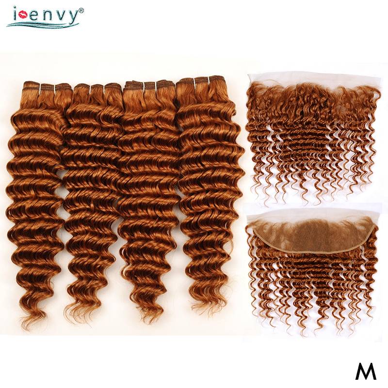 Deep Wave Bundles With Closure Blonde Bundles With 13*4 Frontal Closure Color Bundle Brazilian Human Hair Middle Ration Non-remy