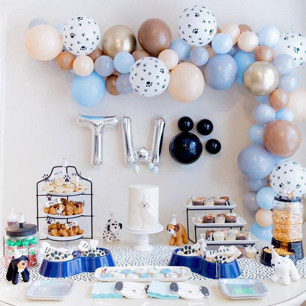 72 Uds pata globo set de guirnaldas pata impreso látex Balllom Macaron globos de látex salvaje/dos para bebé decoraciones de cumpleaños