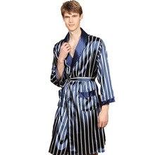 Плюс размер 5xl шелк халат мужчины весна лето синий полосатая одежда для сна халат мужской длинный рукав атлас кимоно халат одежда для сна